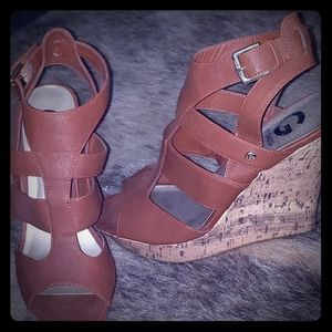 Brown Guess Wedge Heels Size 8
